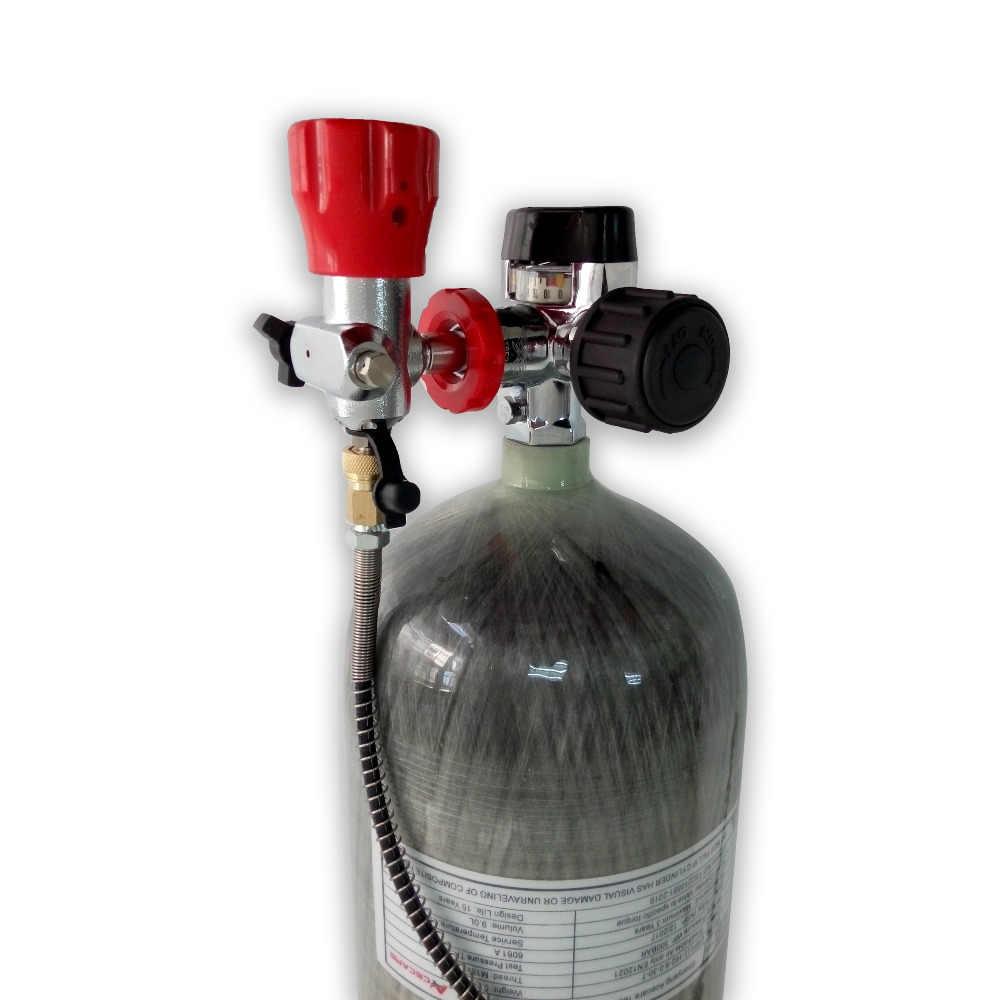 ACECARE 9L HPA 300bar 4500psi خزان الغاز الغوص ألياف الكربون PCP الادسنس SCBA اسطوانة مع M18 * 1.5 قياس الدين صمام AC109201