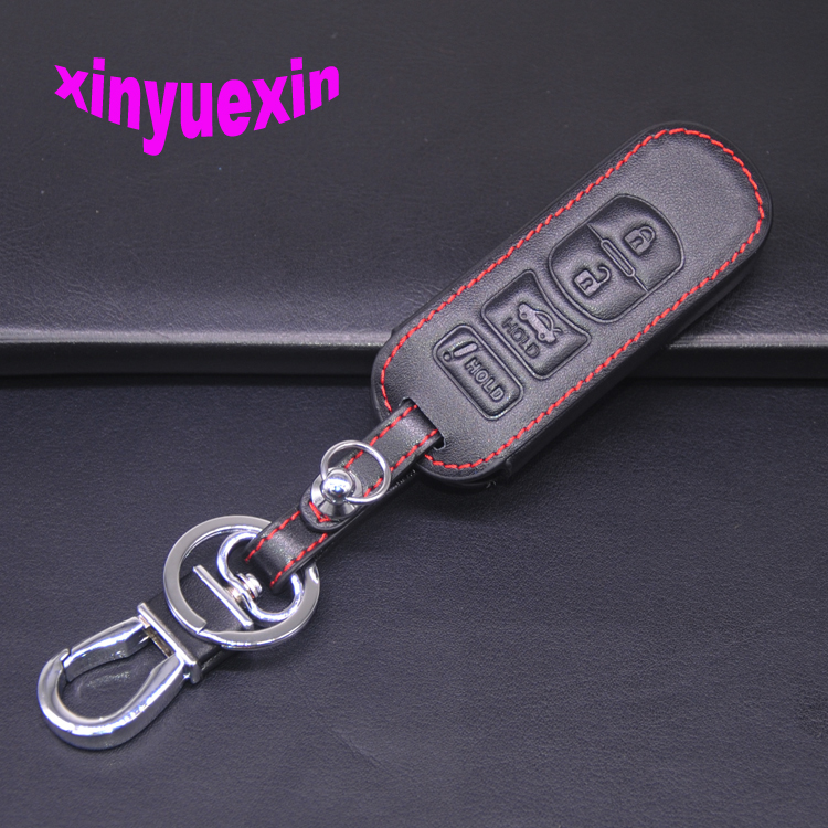Xinyuexin Leather Car Key Cover Fob Case For <font><b>Mazda</b></font> 3 5 6 8 CX5 CX7 <font><b>CX9</b></font> M6 GT 2016 <font><b>2017</b></font> Remote Key With Keychain 4 Button No Logo image