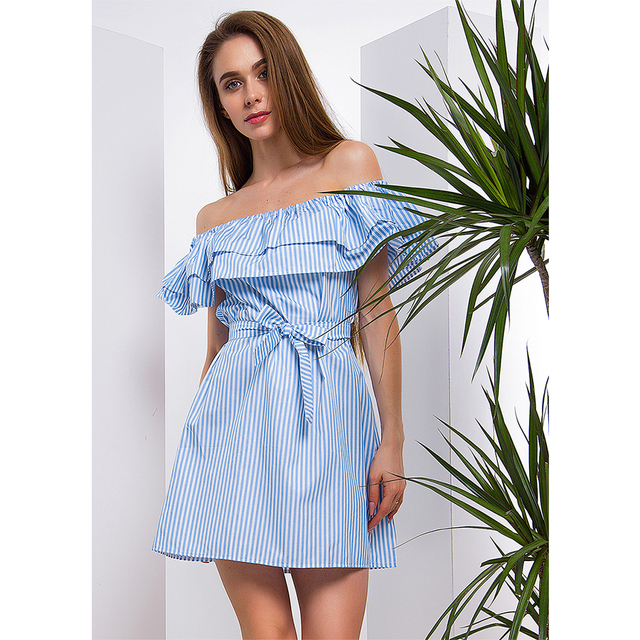 Summer Casual Striped Pattern Sexy Slash Neck Mini Dress
