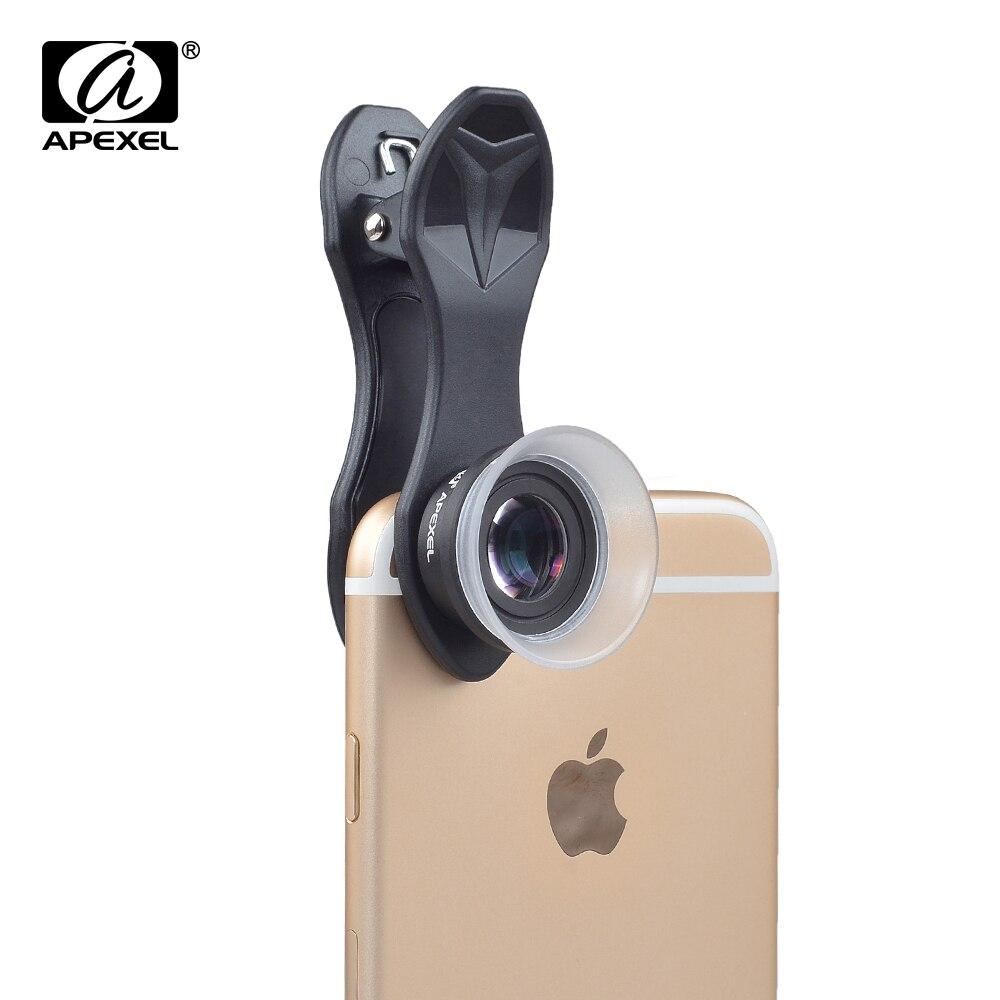 Apexel profissional lente da câmera do telefone móvel lentes 12x/24x macro lente super macro para iphone 6 7 android ios smartphone 24xm