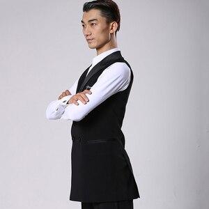 Image 3 - סלוניים לטיני ריקוד חולצות גברים שחור ארוך Veat מעיל זכר ואלס פלמנגו Cha Cha בגדי תחרות ביצועים ללבוש DNV11344