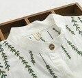Небольшой свежий ивы вышивка хлопок с отложным воротником с длинным рукавом белая рубашка с длинными блузка мори девушка 2016 лето
