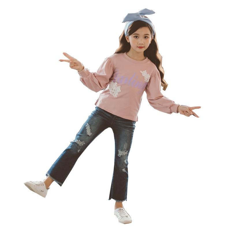Girls Clothing Set T Shirt + Jeans Autumn Suit Kids Sport Suit Baby Girl Cartoon 2 Pcs Sets Teenage Girls for 3-14 Years CA165 цена