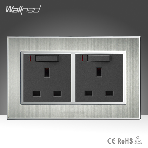 CE BS Approved Double 13A Wall UK Switched Socket Silver Satin Metal 13A UK Wall Switch and Socket with LED Indicator AC110-250V ботинки libellen ботинки
