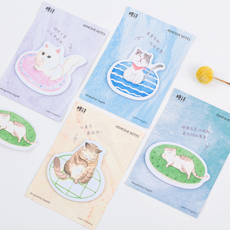 30 Pages Adorable Cat Kitten Sticky Notes Message Writing Memo Pads School Office Supply Stationery Notebook Decor Stick Label