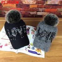 PJ.SDZM Plush Baseball Cap Autumn and Winter Women Fashion Joker Hat Sequins Hair Bulb Caps Casual Baseball Caps