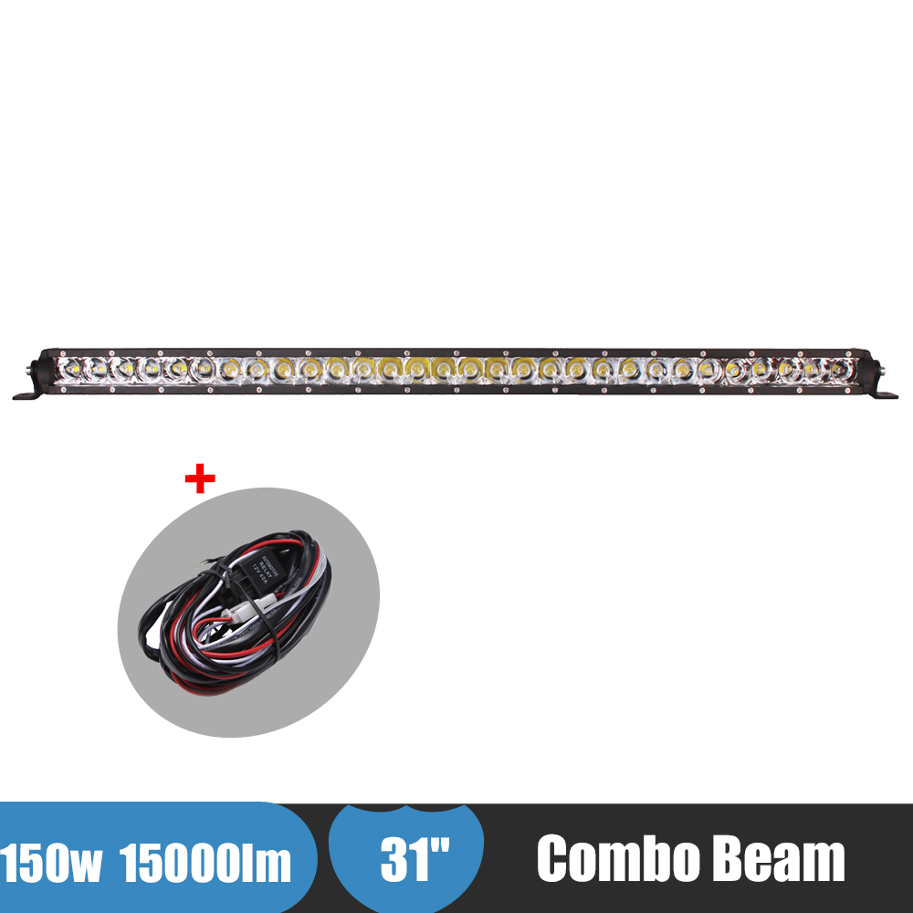 31 Inch 150W Combo LED Light 4x4 Truck Tractor Suv ATV Offroad Light Bar LED Work Light Car Fog Driving Lamp for Ford Jeep BMW tripcraft 108w led work light bar 6500k spot flood combo beam car light for offroad 4x4 truck suv atv 4wd driving lamp fog lamp