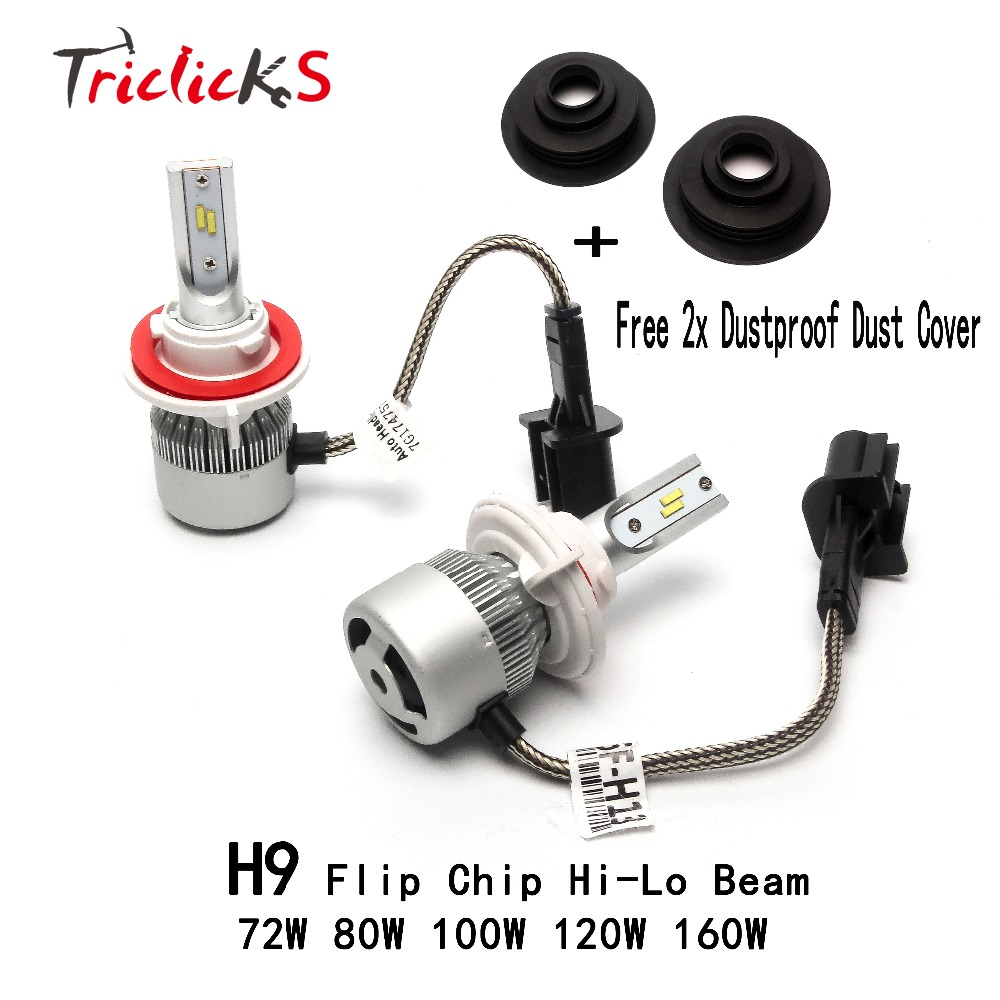 Triclicks H9 Flip Chip Headlights LED Hi-lo Car Light Bulb 6000K Headlight+Free Dustproof Dust Cover For Jeep Chevrolet Peugeot h4 7 led headlights with led car canbus led chip 80w 8000lm 6000k hi lo led driving light for off road uaz lada