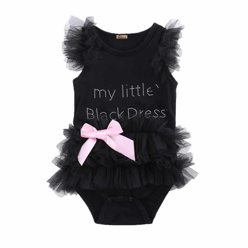 Милое детское черное платье с бантом и вышивкой для новорожденных девочек модный комбинезон с буквенным принтом