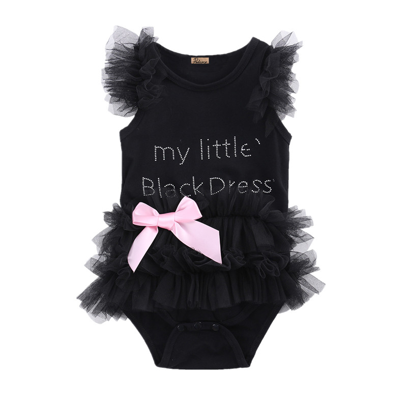 Little Black Dress Fashion Girl: Cute Kids Newborn Infantil Baby Girls Bow Embroidered