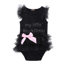Cute Kids Newborn Infantil Baby Girls Bow Embroidered Little Black Dress Fashion Letter Romper Jumpsuit