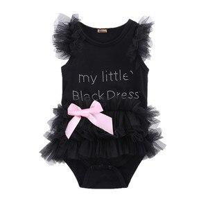 Kids Newborn Infantil Baby Girls Bow Embroidered Little Black Dress Fashion Letter Romper Jumpsuit(China)