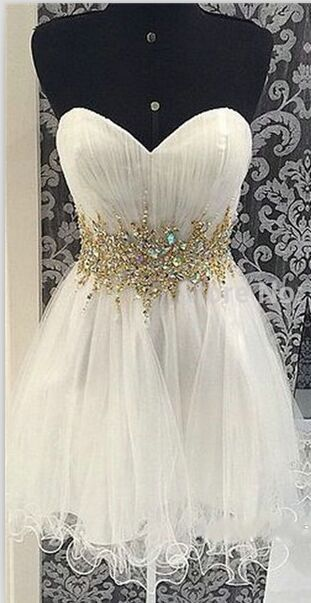 White Sweetheart Junior Homecoming Dresses Short Tulle Crystal Graduation Dresses Mini Length Backless Mezuniyet Elbiseleri 2019