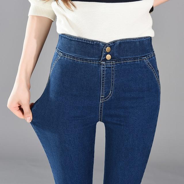 2017 Nueva Moda Mujer Pantalones Plus Size Stretch Flacos Pantalones Vaqueros de Cintura Alta Pantalones Mujer Pantalones Lápiz Casual Pantalones de Mezclilla Delgada