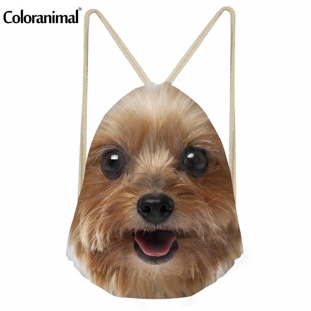 Coloranimal Kordelzug Tasche Niedlichen Welpen Hund Druck Frauen Männer Kleine Rucksack Schulter Tasche Yorkshire Terrier Schul Für Jungen Mädchen Starke Verpackung