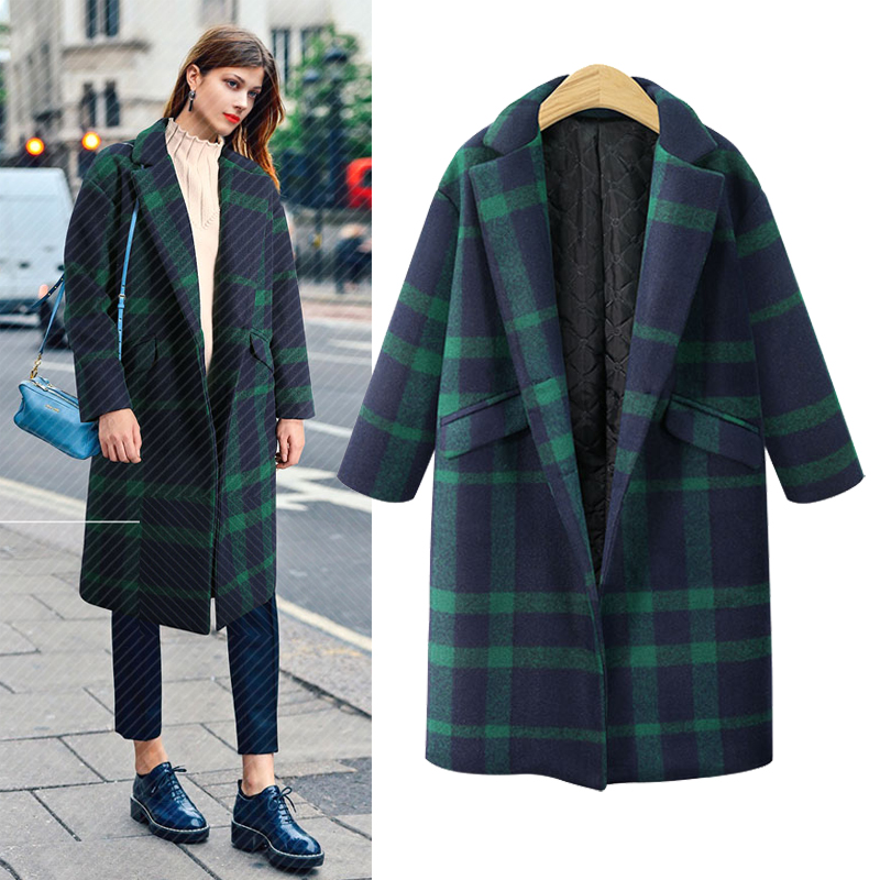 YICIYA Plaid manteau femmes 2019 Tranchée hiver plus grande taille longue surdimensionné cardigan survêtement vert de mode costumes blazer vêtements