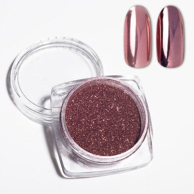 0,5g espejo Rosa oro uñas arte brillo polvo brillante cromo pigmento manicura Gel UV decoración polvo nuevo actualizado caliente DIY