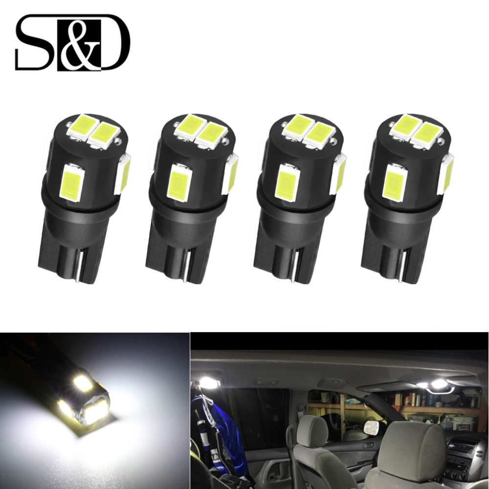 S&D 4pcs W5W LED T10 LED Bulbs Car Lights 194 168 Interior Lamp 6000K White License Plate Bulb Reading Wedge Dome Turn Lamp 12V jstop 2pcs set 206 207 led car reading lights t10 w5w trunk bulbs led 12vac t10 wy5w dome lights 5050smd canbus car reading lamp