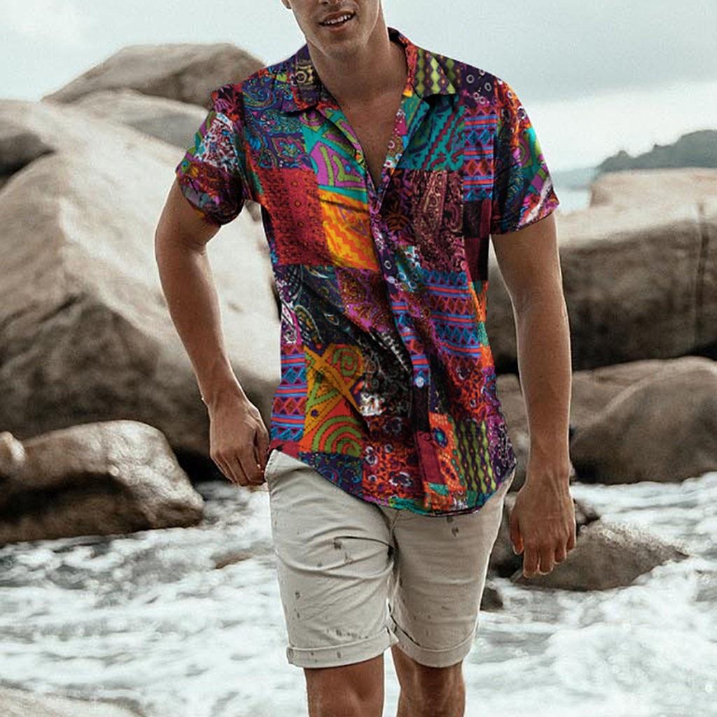 Mens Ethnic Short Sleeve Beach Hawaiian Shirt Tropical Summer Cotton Linen Printing Hawaiian Button Down Shirts Plus Size hoodie