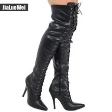 """jialuowei 4 """" 1/2 stiletto heels  Ladies Black Patent Over Knee Thigh High Heel Stiletto Point Lace Up Boots Plus Size"""