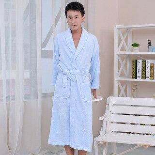 Новый 2016 мужчина / женщина бамбукового волокна материала одноцветный халаты халат унисекс с длинными рукавами халат Большой размер пижамы антивирусные