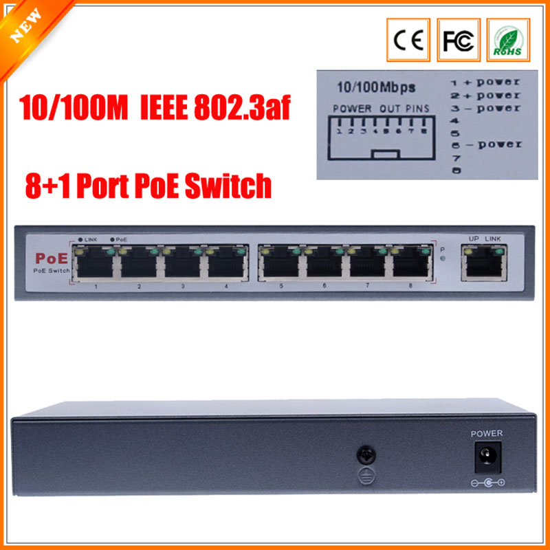 IEEE802.3af PoE Switch 8 Port For IP Camera Power Over Ethernet PoE&Optical Transmission For IP Camera System Network Switches cctv 4 port 10 100m poe net switch hub power over ethernet poe
