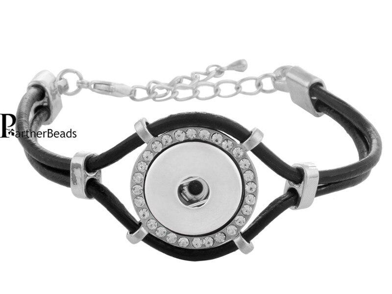 Vente chaude livraison gratuite PU en cuir Snap Bracelets pour bouton  pression gingembre ajustement 18   20 mm Snaps avec métal KB0241 95daba4bc0a