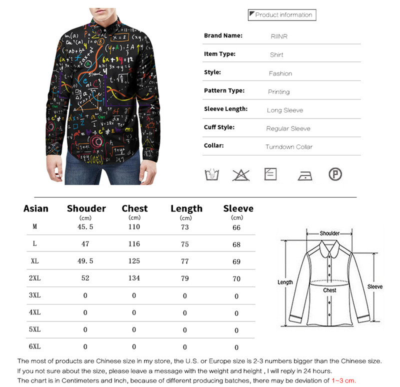 b4fcf6b10e 2018 Autumn New Equation Printed Long Sleeve Shirts Camisa Male Slim ...