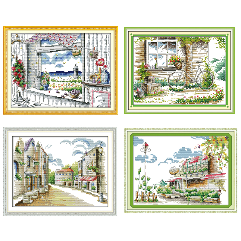 The Scenery Out Of The Window Counted Cross Stitch 11CT 14CT Cross Stitch Set Wholesale Cross-stitch Kit Embroidery Needlework
