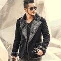 2016 новый зимний мужской тонкий двубортный Искусственной кожи куртка мужчины марка ретро кожаная куртка пальто теплый меховой воротник Ветровка