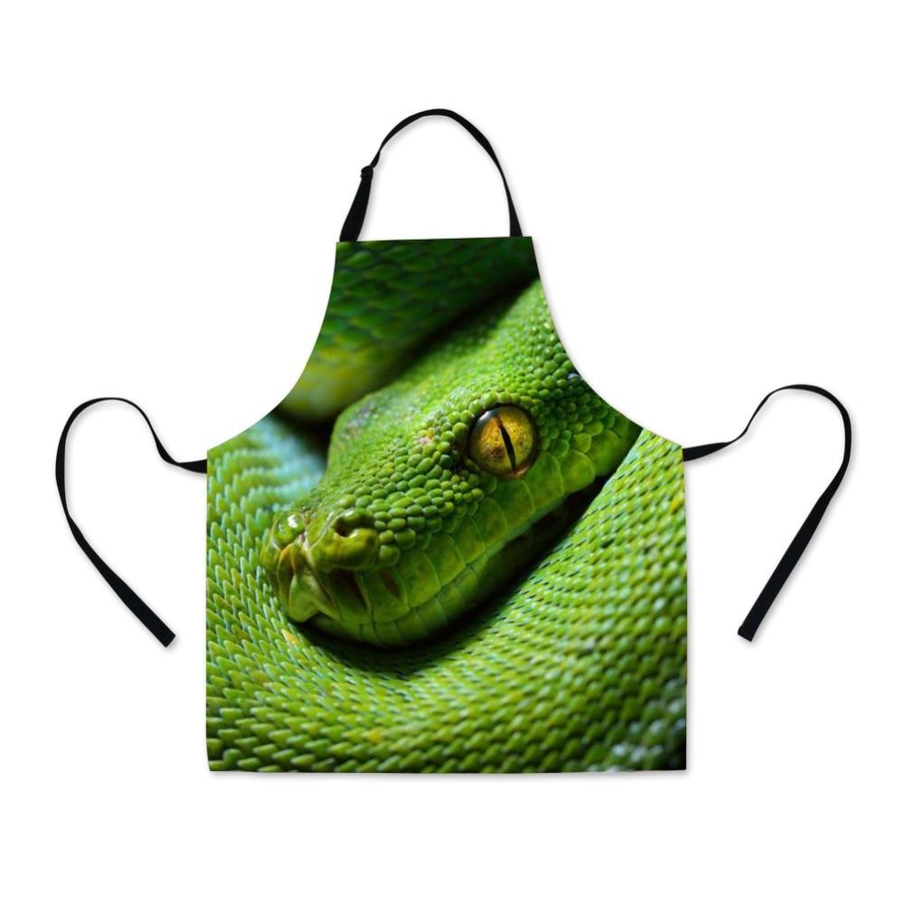 Dispalang Verstelbare Riem Keuken Grote Schort Promotie Volwassen Lange Schorten Voor Koken High-definition Print Snake Patronen Logo Bevorder De Productie Van Lichaamsvloeistof En Speeksel