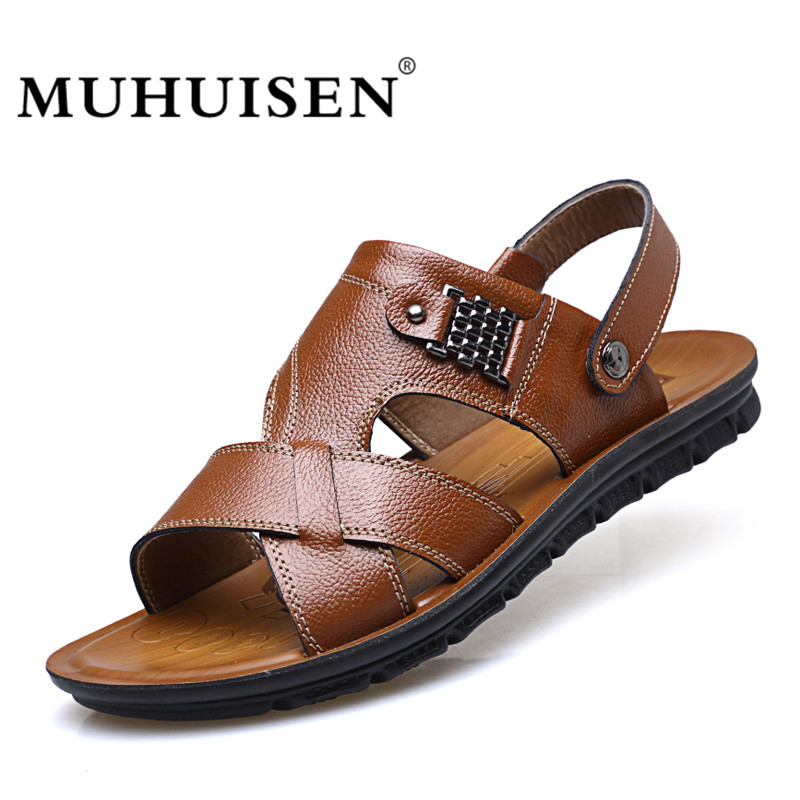 MUHUISEN New Fashion Summer Beach Men Sandals Genuine Leather Men's Flip Flop Sandal Breathable Causal Shoes Outdoor Size 38-44
