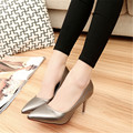 2016 four seasons fashion high-heeled shoes slip-resistant thin heels single shoes shallow mouth pointed toe single with women's