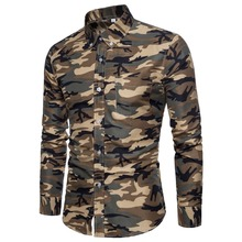 2018 New Arrivals Brand Mens Shirt Camouflage Dress Long-Sleeve Slim Fit Casual Camisa Masculina