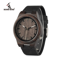 2016 New Arrival Black Wooden Quartz Watch Mens Top Luxury Brand Japan Movement Watch With Soft