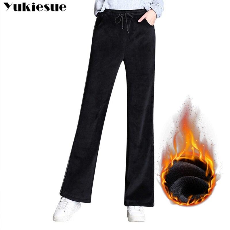2018 Winter Warm Women Full Long Wide Leg Velvet Pants,PLUS SIZE Autumn Fleece Flare Pants Velvet Trouser Black Velour Trousers