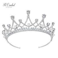 PEORCHID Pearls Wedding Crown Round Hair Tiara Crystal Hairband Metal Akcesoria Na Wesele Bridal Jewelry Bride Crown Headpiece