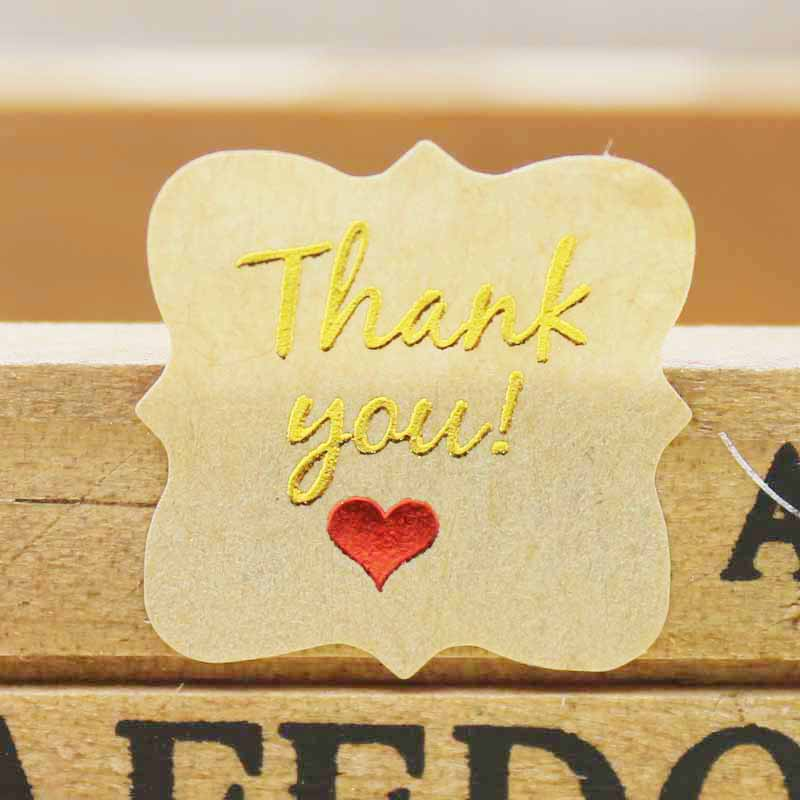 100 Pcs 2018New DIY Sealing Thank You Label  Golden Foil HandMade  With Love Label Clear Thank You Sticker Labels  22x22mm