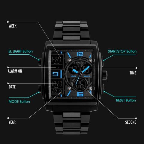 SKMEI Creative Sports Watches Men Stainless Steel Mesh Fashion Clock Male Top Brand Luxury Digital Watch Relogio Masculino 1274 Lahore