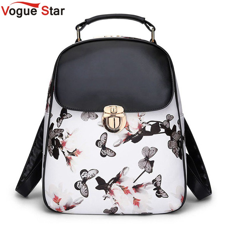 Vogue Star 2017 Women Leather Backpacks Printing Foral Bags School Bag For Teenager Girls College Designer