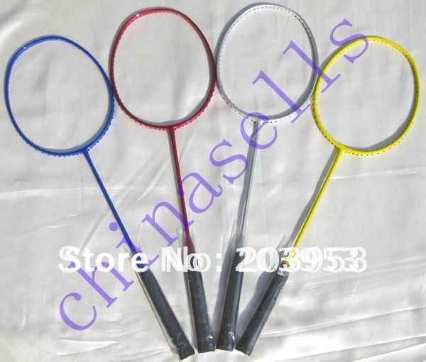 high quality Full Carbon Badminton Racket Racquets no logo 4 colour, 24Lbs, free 1 sweatband, 1 line