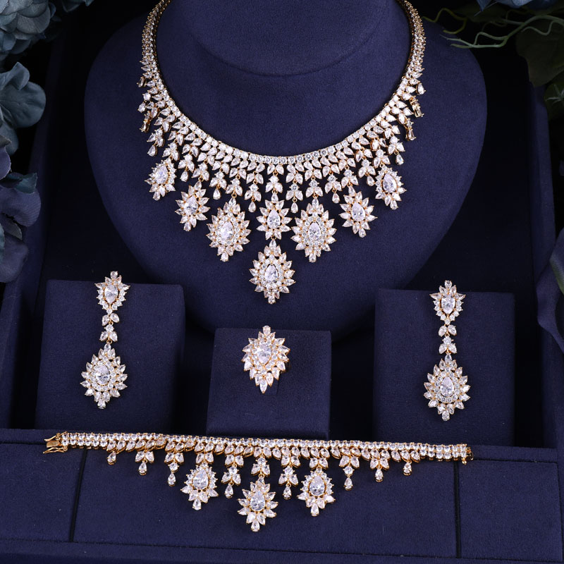 HTB1McXgNkzoK1RjSZFlq6yi4VXae JaneKelly High Quality White Cubic Zircon Pendant Jewelry Sets Gold-Color Female Jewelry Engagement Gifts N-215