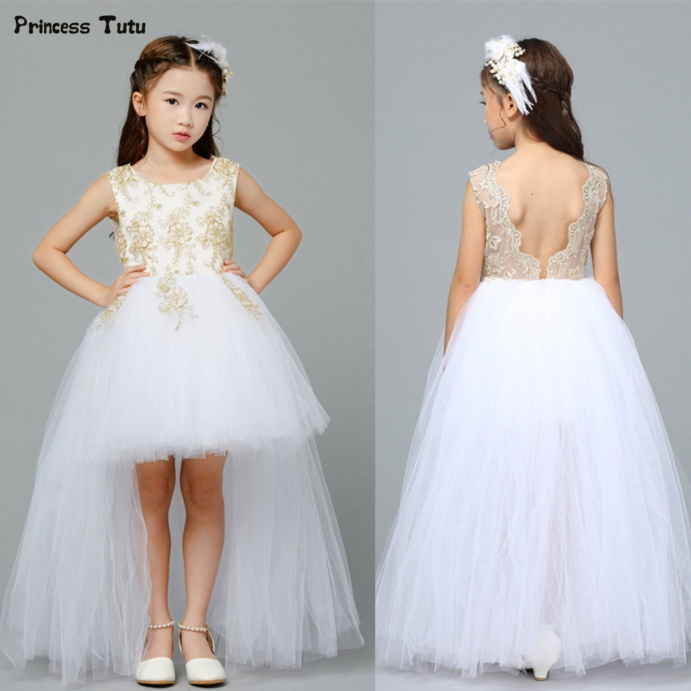 Girls Wedding Gown: Embroidery Backless Girls Formal Dresses White Wedding