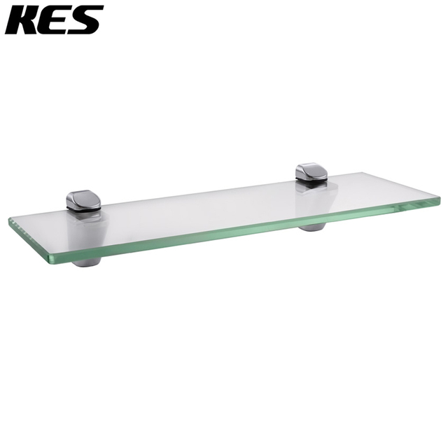 Kes 14 Inch Bathroom Tempered Glass Shelf 8mm Thick Wall Mount Rectangular Polished