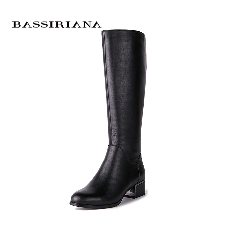 BASSIRIANA New 2018 classic genuine leather shoes woman high boots round toe square heels zip spring Autumn black 35-40 size bassiriana new 2017 winter high boots shoes woman high heels round toe zipper genuine leather and suede black 35 40 size
