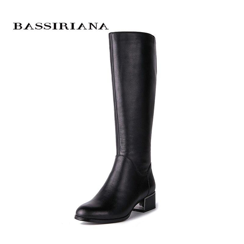 BASSIRIANA Novo 2018 clássicos genuínos sapatos de couro mulher botas de cano alto saltos dedo do pé redondo quadrado zip primavera Outono preto 35-40 tamanho