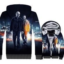 TV Show Breaking Bad Heisenberg & Jesse Pinkman Hip Hop 3D Hooded 2019 Winter Warm Men Jacket Thick Mens Sweatshirts Hoodies