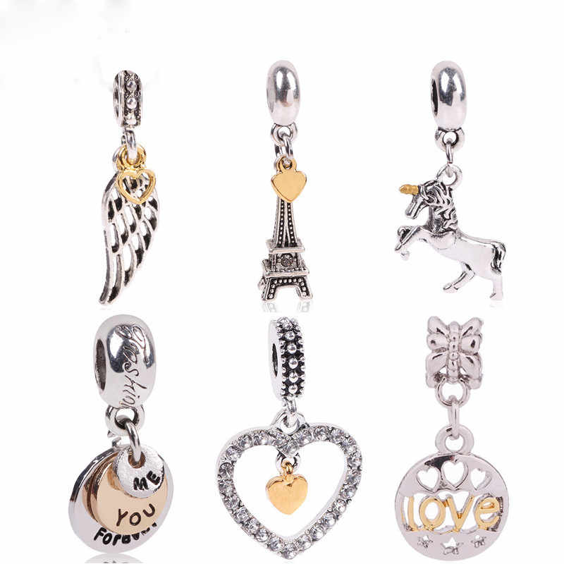 Aifeili Silver Color Interlocking Love Cz Pendant Double Heart