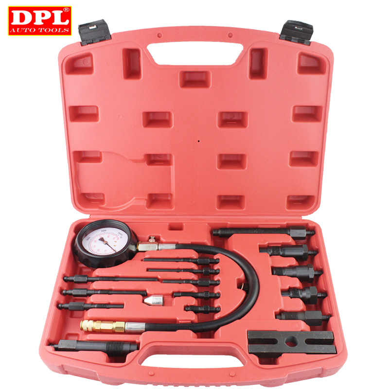 TU-15B Pressure Gauge Diesel Engine Compression Tester Set Kit automotive tools tu 15a diesel engine compression tester kit engine pressure gauge 0 1000psi
