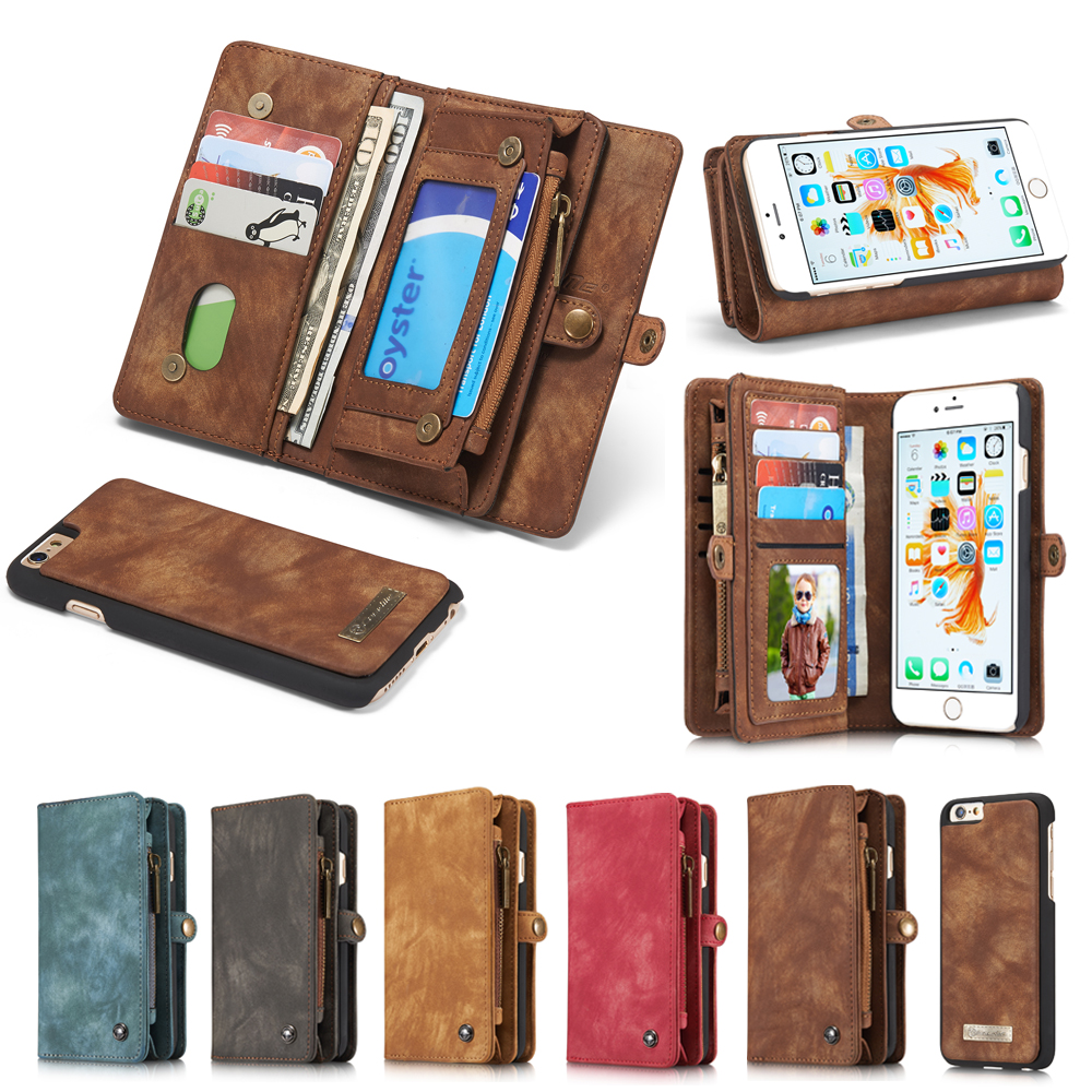 big sale 50100 57f5e Genuine Leather Wallet Case For iPhone 8 7 6 6s Plus 7 Plus 8 Plus Luxury  Multi functional Original Magnet Cover Phone Cases Bag-in Wallet Cases from  ...